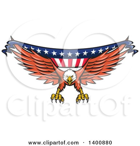 Clipart of a Retro Bald Eagle Swooping with an American Flag Banner - Royalty Free Vector Illustration by patrimonio
