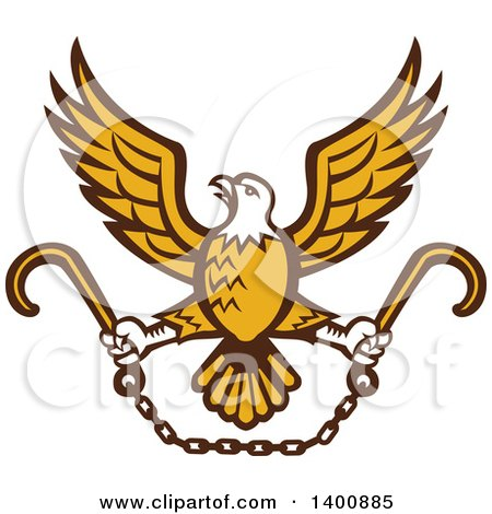 Clipart of a Retro Bald Eagle Flying with a Chain and Towing J Hooks - Royalty Free Vector Illustration by patrimonio