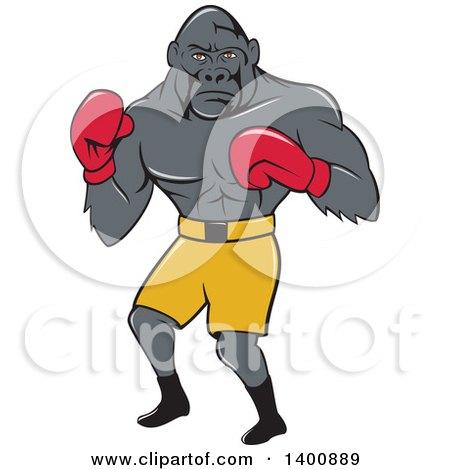 Cartoon Gorilla Boxer Fighting Posters, Art Prints
