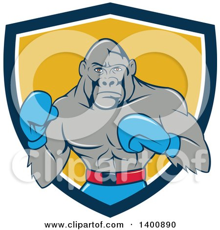 Clipart of a Cartoon Gorilla Boxer Fighting in a Blue White and Yellow Shield - Royalty Free Vector Illustration by patrimonio