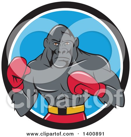 Cartoon Gorilla Boxer Fighting in a Black White and Blue Circle Posters, Art Prints