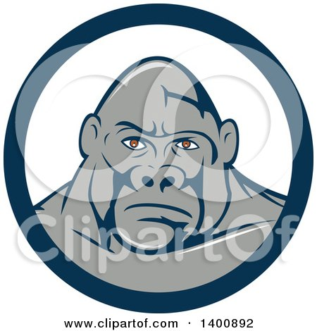 Clipart of a Retro Gorilla Face in a Blue and White Circle - Royalty Free Vector Illustration by patrimonio