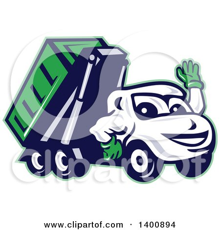 Royalty Free Rf Roll Off Truck Clipart Illustrations