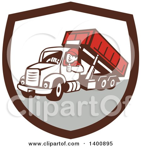 Clipart of a Retro Male Dump Truck Driver Giving a Thumb up in a Brown White and Gray Shield - Royalty Free Vector Illustration by patrimonio