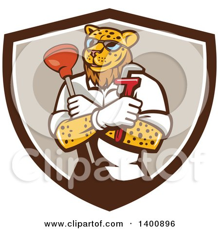 Clipart of a Leopard Plumber Holding a Plunger and Monkey Wrench in Folded Arms Within a Brown and White Shield - Royalty Free Vector Illustration by patrimonio