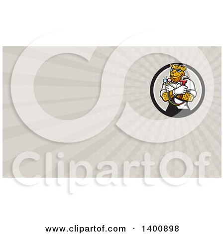 Clipart of a Cartoon Refrigeration and Air Conditioning Mechanic Leopard Holding a Pressure Temperature Gauge and Monkey Wrench and Rays Background or Business Card Design - Royalty Free Illustration by patrimonio
