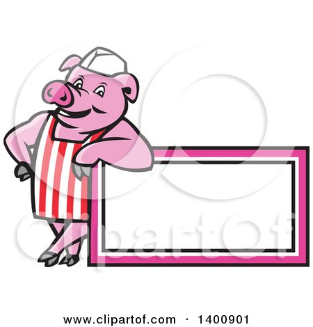 Clipart of a Retro Cartoon Butcher Pig Leaning on a Blank Sign - Royalty Free Vector Illustration by patrimonio