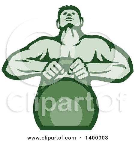 Clipart of a Retro Muscular Male Bodybuilder Athlete Lifting a Kettlebell, in Green Tones - Royalty Free Vector Illustration by patrimonio