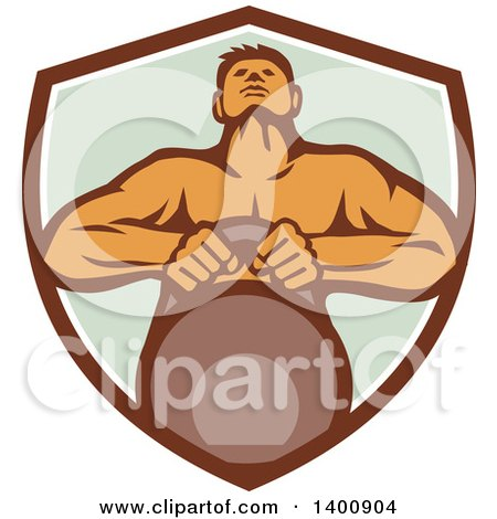 Clipart of a Retro Muscular Male Bodybuilder Athlete Lifting a Kettlebell in a Shield - Royalty Free Vector Illustration by patrimonio