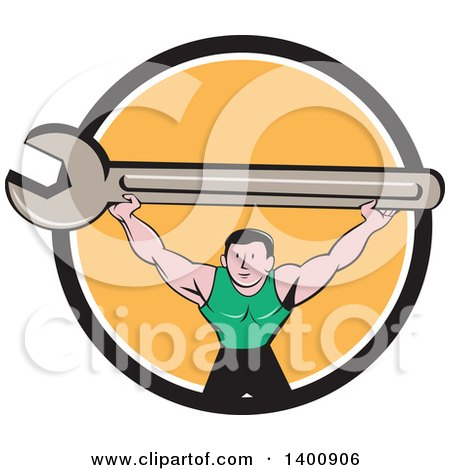 Retro Cartoon White Male Mechanic Squatting and Holding up a Giant Spanner Wrench in a Black White and Orange Circle Posters, Art Prints