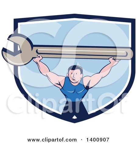Retro Cartoon White Male Mechanic Squatting and Holding up a Giant Spanner Wrench in a Blue and White Shield Posters, Art Prints
