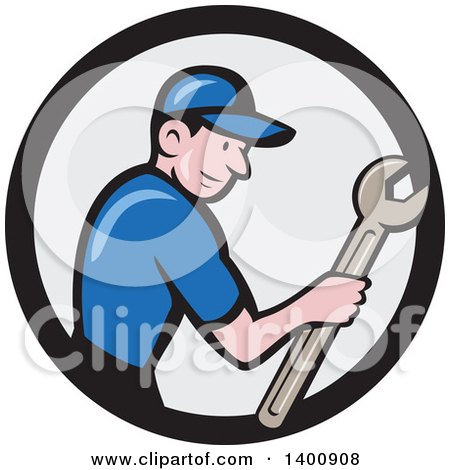 Retro Cartoon White Handy Man Holding a Spanner Wrench in a Circle Posters, Art Prints