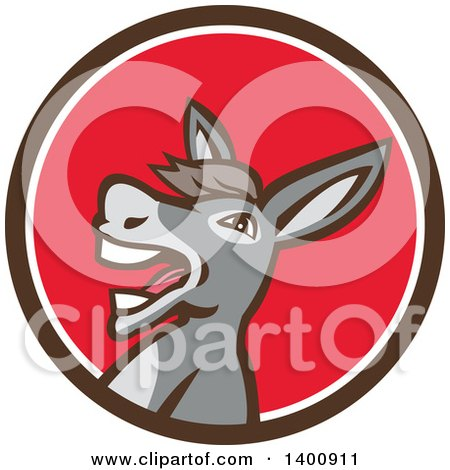 Clipart of a Retro Hee Hawing Braying Donkey in a Brown White and Red Circle - Royalty Free Vector Illustration by patrimonio