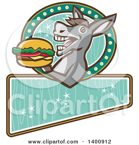 Clipart of a Retro Donkey About to Take a Bite out of a Cheeseburger on a Turquoise Sign - Royalty Free Vector Illustration by patrimonio