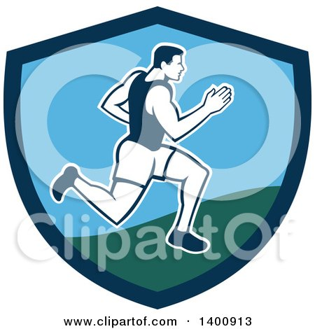 Clipart of a Retro Male Marathon Runner or Sprinter in a Blue and Green Shield - Royalty Free Vector Illustration by patrimonio