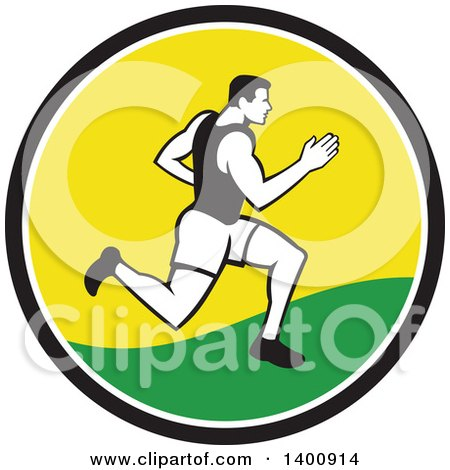 Clipart of a Retro Male Marathon Runner or Sprinter in a Black White Yellow and Green Circle - Royalty Free Vector Illustration by patrimonio
