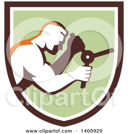 Clipart of a Retro Muscular Man Opening a Safe in a Brown White and Green Shield - Royalty Free Vector Illustration by patrimonio
