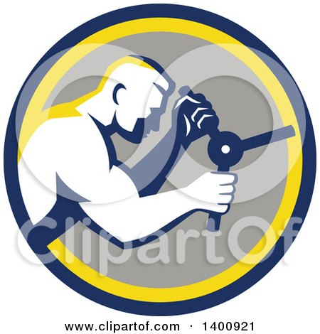 Clipart of a Retro Muscular Man Opening a Safe in a Blue Yellow and Gray Circle - Royalty Free Vector Illustration by patrimonio
