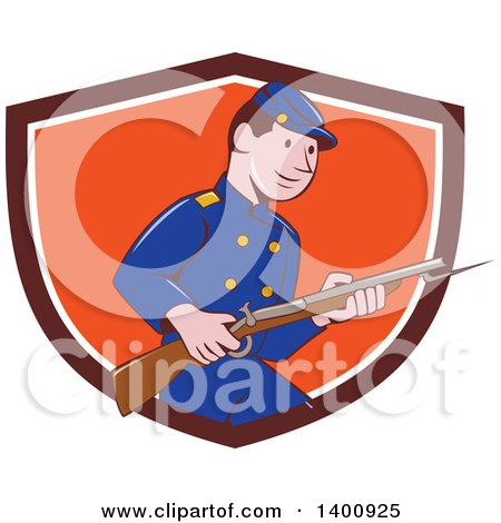 Clipart of a Retro Cartoon American Civil War Union Army Soldier Holding a Rifle with Bayonet, Emerging from a Shield - Royalty Free Vector Illustration by patrimonio