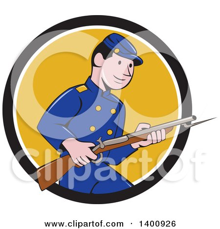 Clipart of a Retro Cartoon American Civil War Union Army Soldier Holding a Rifle with Bayonet, Emerging from a Black White and Yellow Circle - Royalty Free Vector Illustration by patrimonio