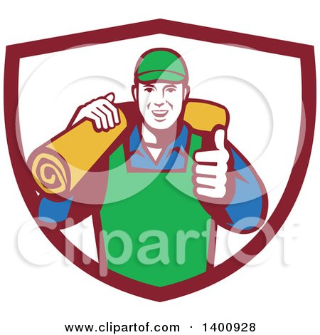 Clipart of a Retro Male Carpet Layer Giving a Thumb up and Carrying a Roll in a Shield - Royalty Free Vector Illustration by patrimonio
