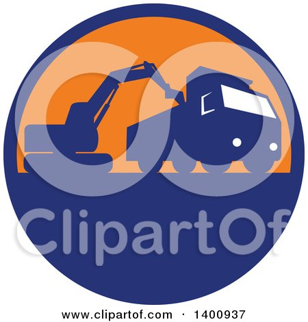 Retro Silhouetted Mechanical Digger Excavator Loading a Dump Truck in a Blue and Orange Circle Posters, Art Prints