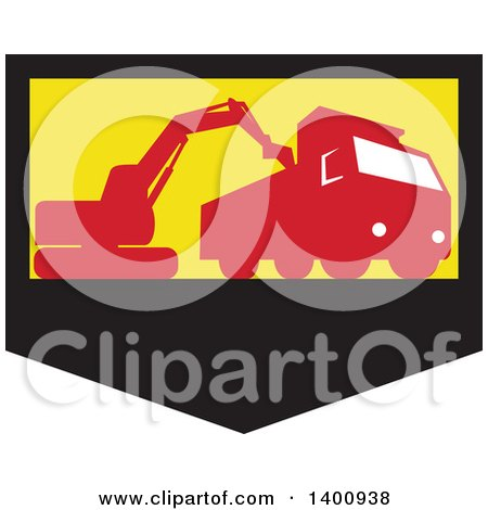 Retro Silhouetted Mechanical Digger Excavator Loading a Dump Truck in a Black Yellow and Red Shield Posters, Art Prints