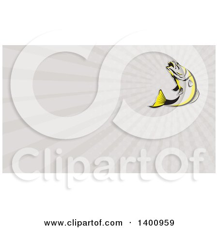 Clipart of a Retro Gray Black and Yellow Barramundi Asian Sea Bass Fish Jumping and Rays Background or Business Card Design - Royalty Free Illustration by patrimonio