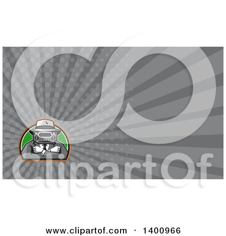 Clipart of a Retro Tough Mobster with a Car Grill Head and Folded Arms and Gray Rays Background or Business Card Design - Royalty Free Illustration by patrimonio