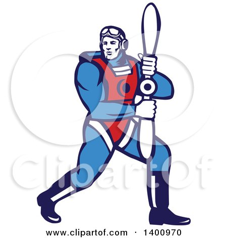 Clipart of a Retro WWI Aviatior Pilot Holding a Propeller - Royalty Free Vector Illustration by patrimonio