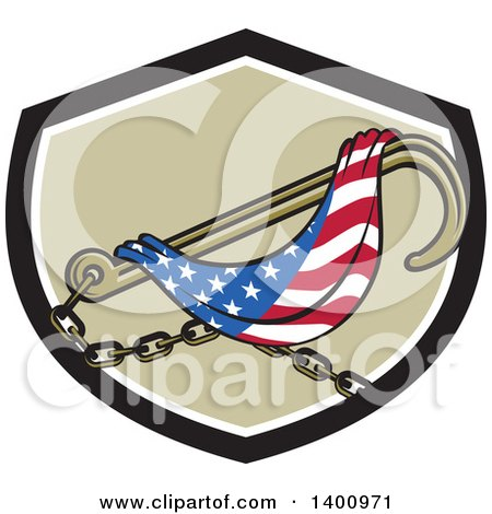 Clipart of a Towing J Hook and American Flag in a Black White and Tan Shield - Royalty Free Vector Illustration by patrimonio