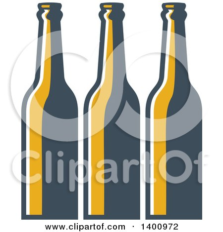 Clipart of a Retro Row of Long Neck Beer Bottles - Royalty Free Vector Illustration by patrimonio