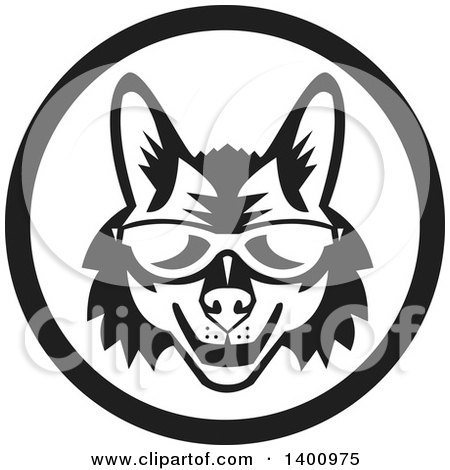 Clipart of a Retro Black and White Coyote Face Wearing Sunglasses in a Circle - Royalty Free Vector Illustration by patrimonio