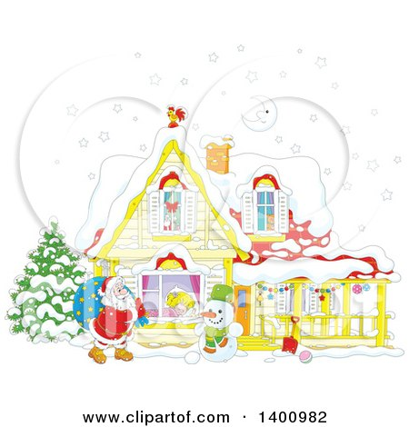 Clipart of a Christmas House with a Cartoon Snowman and Santa Claus Carrying a Sack in the Snow - Royalty Free Vector Illustration by Alex Bannykh