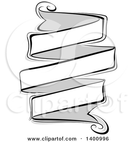 Clipart of a Blank Grayscale Ribbon Banner Design Element - Royalty Free Vector Illustration by dero