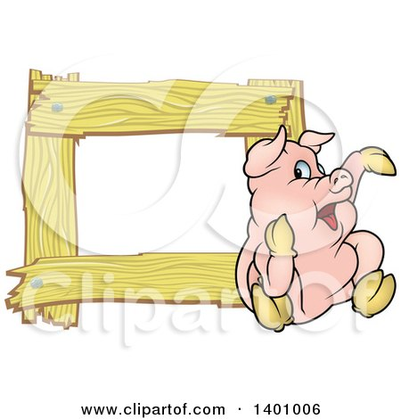 Clipart of a Blank Wood Frame with a Pig - Royalty Free Vector ...