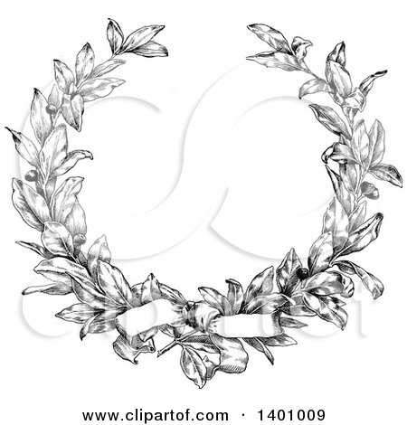 Clipart of a Black and White Vintage Laurel Wreath and Bow - Royalty Free Vector Illustration by BestVector