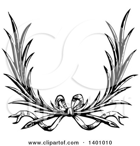 Clipart of a Black and White Vintage Wreath with a Bow - Royalty Free Vector Illustration by BestVector