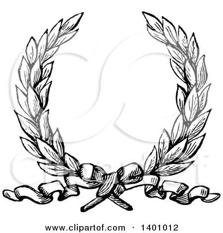 Clipart of a Black and White Vintage Laurel Wreath and Ribbon - Royalty Free Vector Illustration by BestVector