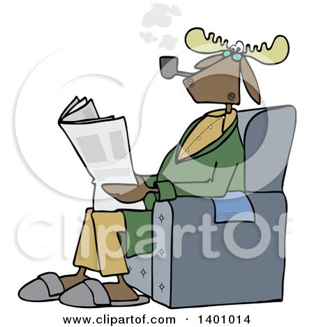Clipart of a Cartoon Moose Smoking a Pipe and Reading a Newspaper in a Chair - Royalty Free Vector Illustration by djart