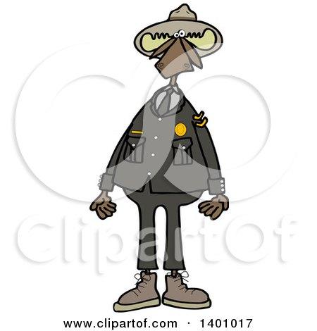 Clipart of a Cartoon Moose Ranger in Uniform, Standing Upright - Royalty Free Vector Illustration by djart