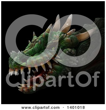 Clipart of a 3d Dragon Head, on a Black Background - Royalty Free Illustration by Leo Blanchette