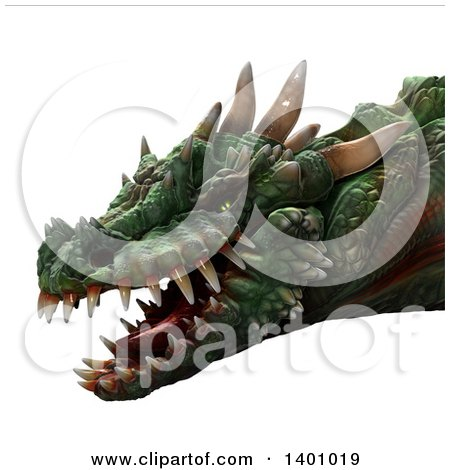 Clipart of a 3d Dragon Head - Royalty Free Illustration by Leo Blanchette