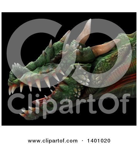 Clipart of a 3d Dragon Head in Profile, on a Black Background - Royalty Free Illustration by Leo Blanchette