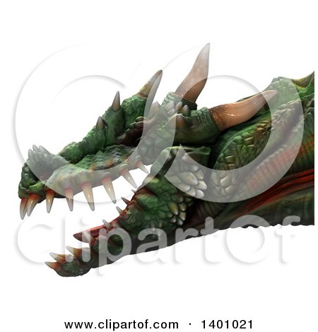 Clipart of a 3d Dragon Head in Profile - Royalty Free Illustration by Leo Blanchette