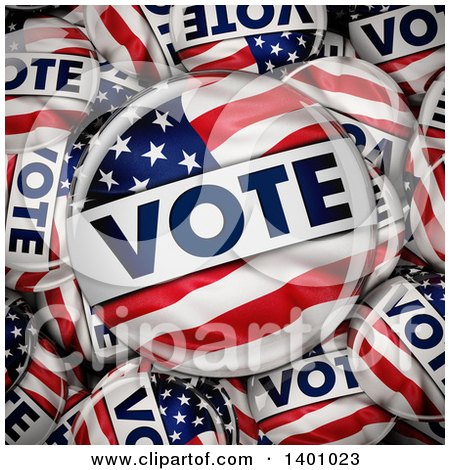 Clipart of a Background of 3d American Flag Political VOTE Button Pins in a Box with a Big One on Top - Royalty Free Illustration by stockillustrations