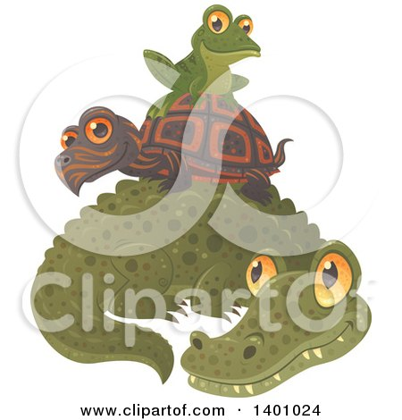 Clipart of a Cute Frog Resting on a Tortoise O Top of an Alligator - Royalty Free Vector Illustration by John Schwegel