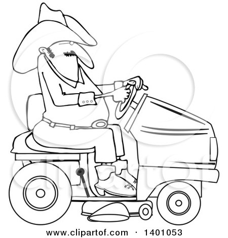 Clipart of a Lineart Chubby Cowboy Riding a Red Lawn Mower - Royalty Free Vector Illustration by djart