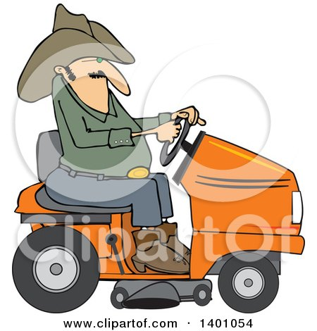 Clipart of a Chubby Cowboy Riding an Orange Lawn Mower - Royalty Free Vector Illustration by djart