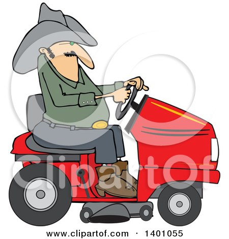 Clipart of a Chubby Cowboy Riding a Red Lawn Mower - Royalty Free Vector Illustration by djart